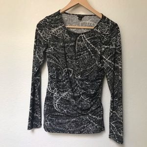 Ann Taylor Workwear Black and White Keyhole Shirt